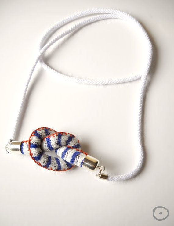 Knot-Long Necklace sautoir in cotton with ginger by FridaWer