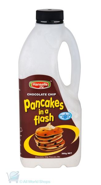 Pancakes In A Flash - Chocolate Chip - Hansells - 360g http://www.shopnewzealand.co.nz/en/cp/Chocolate_Chip_Pancakes
