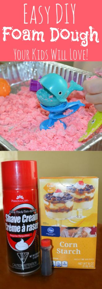 Foam dough a fun simple two ingredient alternative to Play-Doh. Keeps kids entertained for pennies! With a soft & silky texture, it's great for sensory play.  www.TwoKidsAndABudget.com