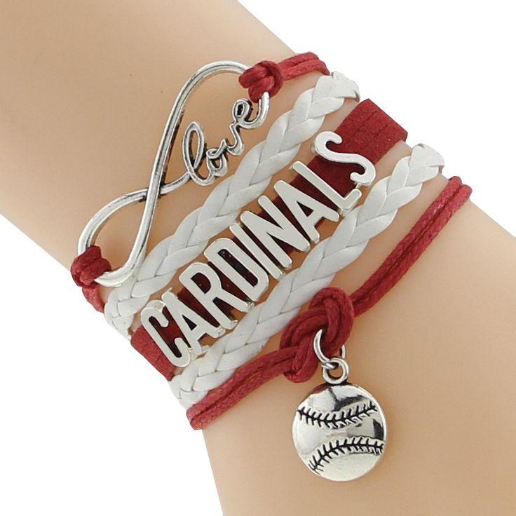 Bracelet, Infinity Love Bracelet, Cardinals Bracelet, Baseball Sports Bracelet by GlamInfinity on Etsy