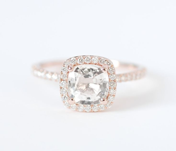"Certified Peach Champagne Cushion Sapphire Diamond Halo Engagement Ring 14K Rose Gold. $2,010.00, via Etsy. I want this one. Also known as a rose gold cushion cut. Why do people feel the need to give it this ridiculous, long fancy name? No such thing as ""peach champagne"" gold"