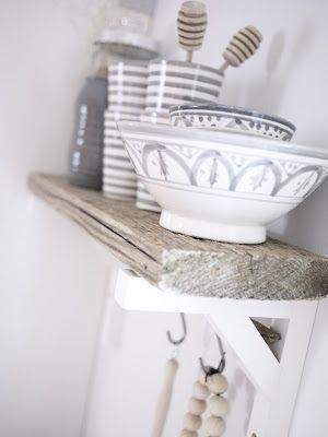 wood shelf, white brackets, lovely crockery
