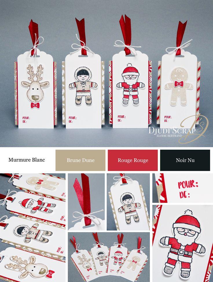 """Djudi'Scrap Stampin'Up! - Etiquettes Cadeaux, Tags """"Set Emporte-Pièce de Noël / Cookie Cutter Christmas"""""""