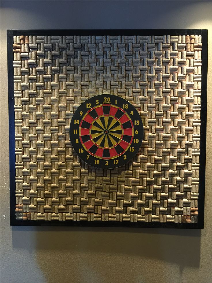 Made the dart board with wine corks! Fun project!  You can order from Kristie Carpenter on Etsy.  Dart board not included...