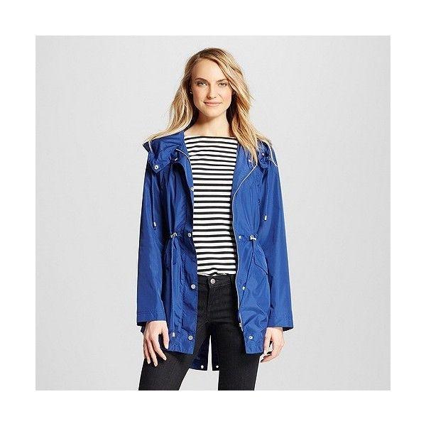 Women's Rain Coat ($40) ❤ liked on Polyvore featuring outerwear, coats, dark blue, pattern coat, white rain coat, mac coat, lightweight coat and lightweight rain coat
