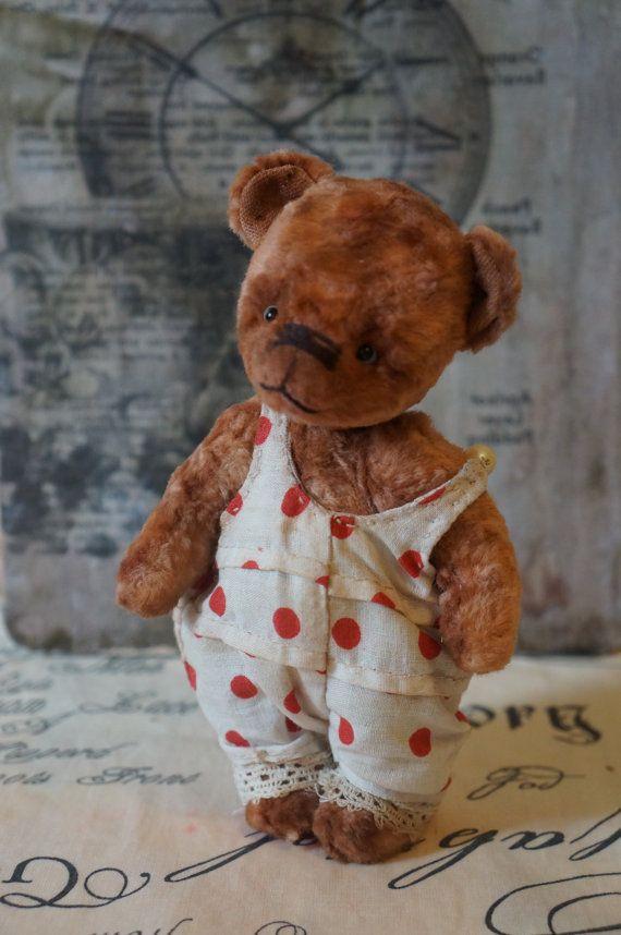 OOAK art teddy-bear clown-Teddy bear with angel by elenaaleshina