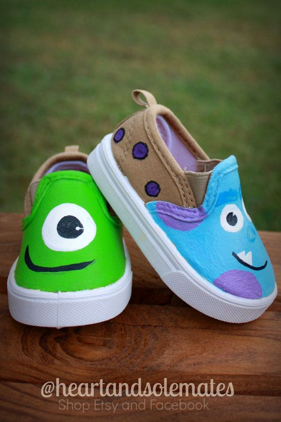 Monsters Inc. Hand Painted Baby Shoes by HeartAndSoleMates on Etsy