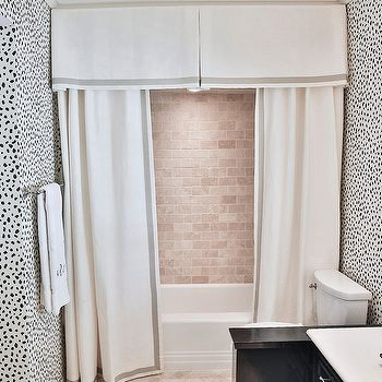 Shower with Pleated Valance and Double Curtains, Contemporary, Bathroom shower curtain wallpaper cornice Amy Berry
