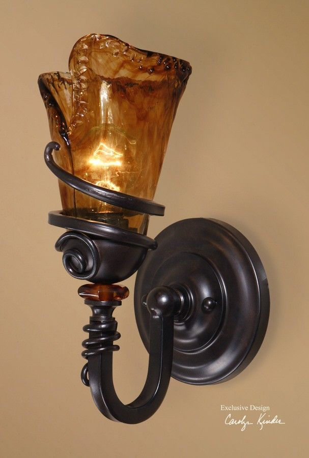 12 best sconces images on pinterest iron glass walls and vitalia oil rubbed bronze metal amber glass electric wall sconce treasurecombers aloadofball Images