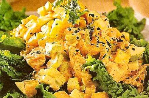 Салат с манго и креветками