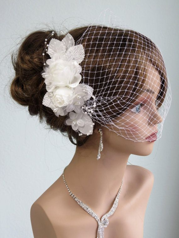 wedding headpiece with bridal birdcage veil fascinator wedding hair clip wedding accessory pearls vail on