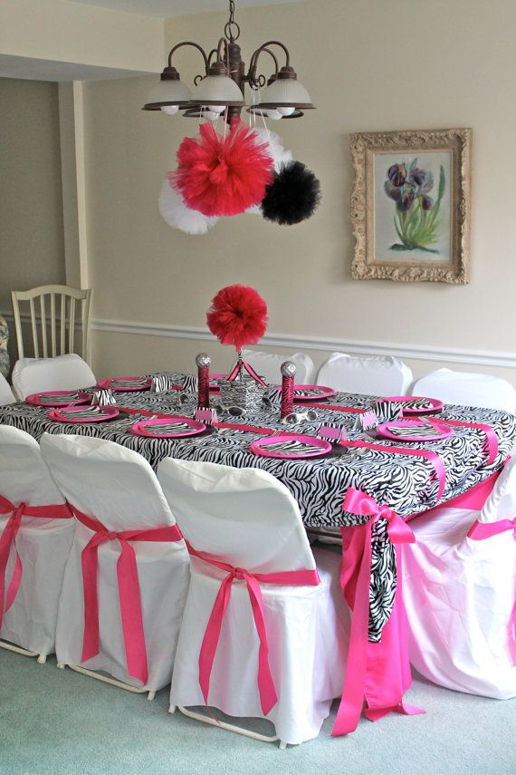 Zebra Party Pom Decorations Mix Of Hot Pink Or Aqua With Black And White Glitter Tulle