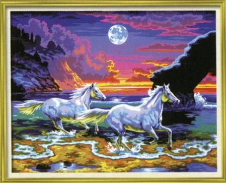 Horses In The Surf Senior Paint By Numbers Craft Kit Artist | Hobbies The Masterpiece Senior range of painting by numbers are for the more experienced artist.  Contents: Pre-printed board, acrylic paints, brush and instruction sheet.