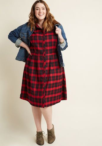 Jam, Girl Shirt Dress in Mixed Berry - Everyone at the farmers market pauses to ponder your perfected rustic style as you man the jam stand in this buffalo plaid shirt dress! Part of our ModCloth namesake label, this flannel frock flaunts strawberry, blueberry, and vanilla hues, tab sleeves, and skirt pleats that invite second glances.