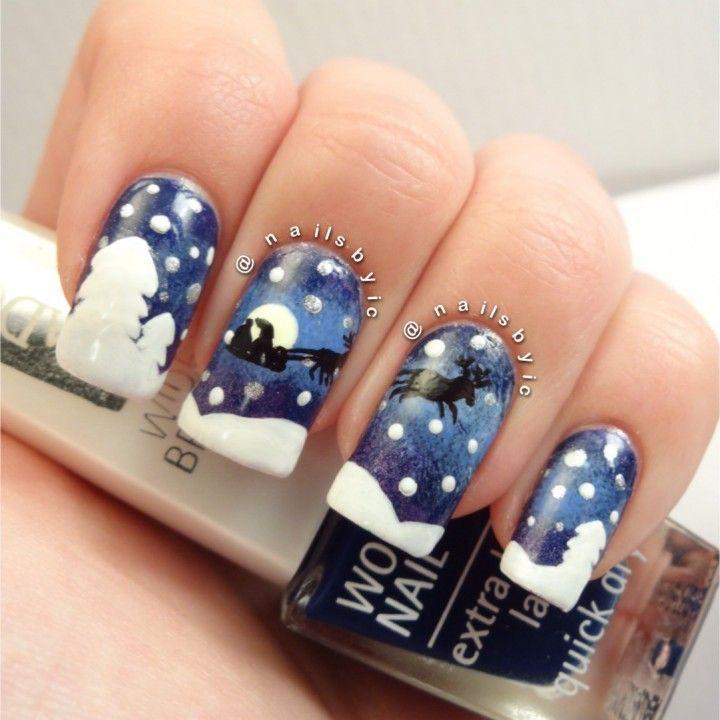 Santas Sleigh Nail Art