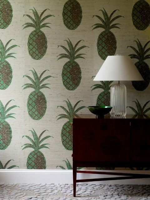 Pineapple wallpaper. I would love this on one wall of the kitchen or dining room in a MCM house!
