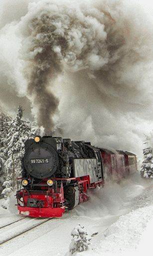 A train traveling through a winter wonderland. Description from pinterest.com. I searched for this on bing.com/images