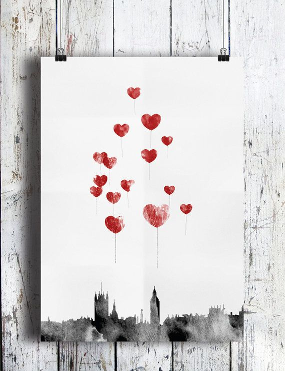 A3 Love in London  Red Heart Balloons Over by CTIllustration