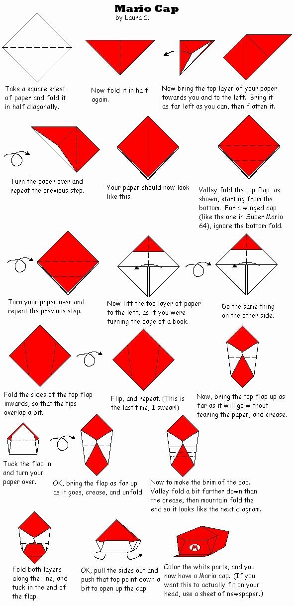 Origami Mario Cap Origami Origami Mario Cap Mario Hat