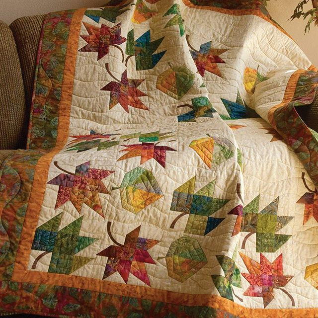 Bring in the festivity of fall by stitching a batik-laden leaf quilt, where they leaves twirl and swirl right on the quilt surface! Find the pattern in the book Slash Your Stash.