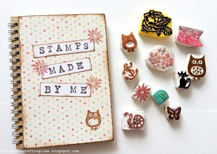 Hand carved stamps with booklet (also hand made)