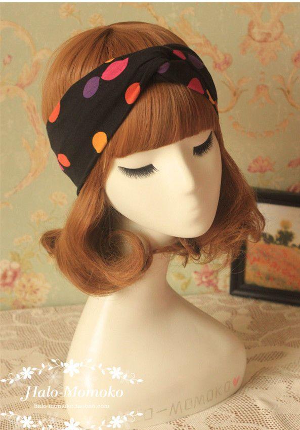 met de hand gemaakte zwarte n kleurrijke dot twist turband hoofdband headwrap strechy boho pinup meisje haaraccessoires