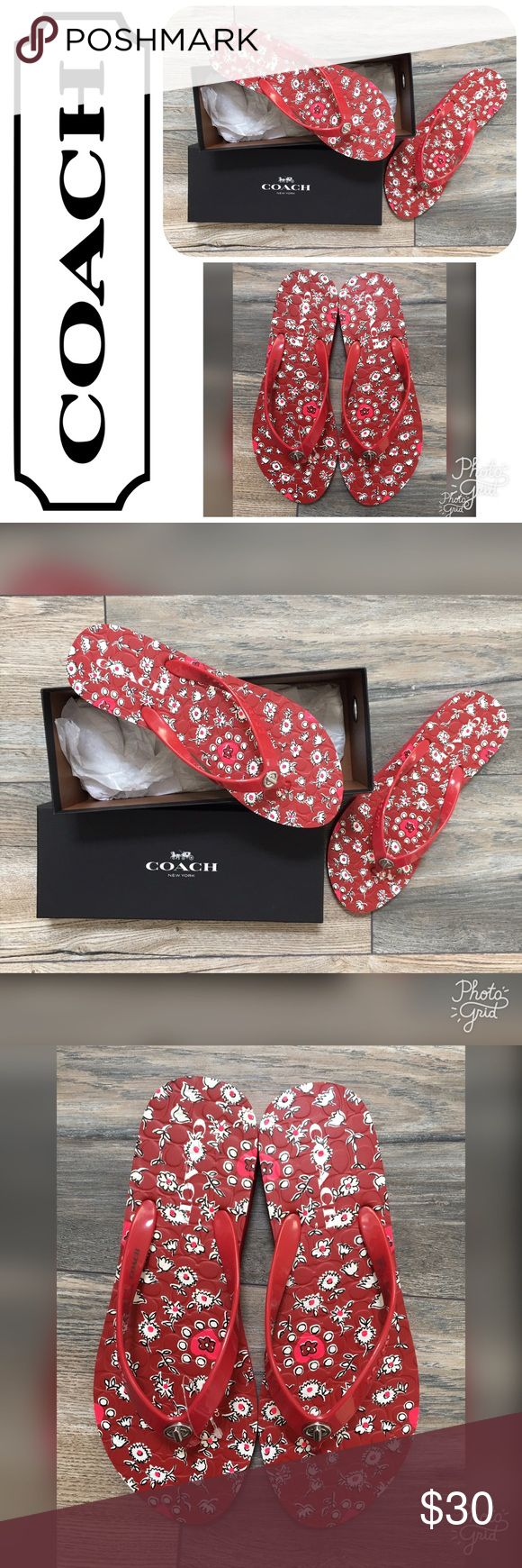 NWT COACH Abbigail Floral Rubber Red Flip Flops 8M These are a pair of NEW WITH TAGS COACH Abbigail Floral Rubber Red Flip Flops in a size 8M.  They are originally $60! Coach Shoes Sandals