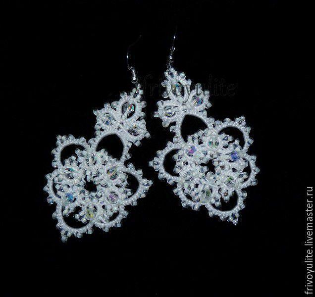 Купить Свадебные серьги Тайна. Длинные серьги айвори белые_Серьги для невесты - серьги длинные айвори