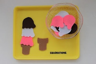 Ice cream patterning-Cut out felt ice cream scoops and ice cream cones for a simple patterning activity. Also use it as a matching game too!