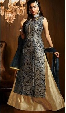 Black Color Art Silk Achkan Style Wedding Lehenga Suit | FH505877150 #heenastyle , #boutique , #pakistani, #salwar , #kameez , #suit , #dresses , #styles , #fashion , #clothing , #henna , #designs , #mehndi , #more , @heenastyle , #party , #online , #abaya