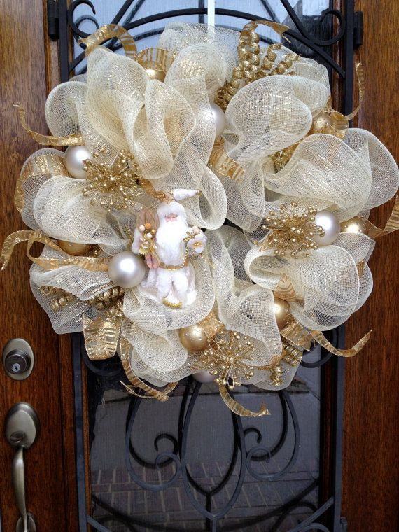 Gold and White Shimmer Deco Mesh Santa Wreath by CreativeDoorDeco, $128.00