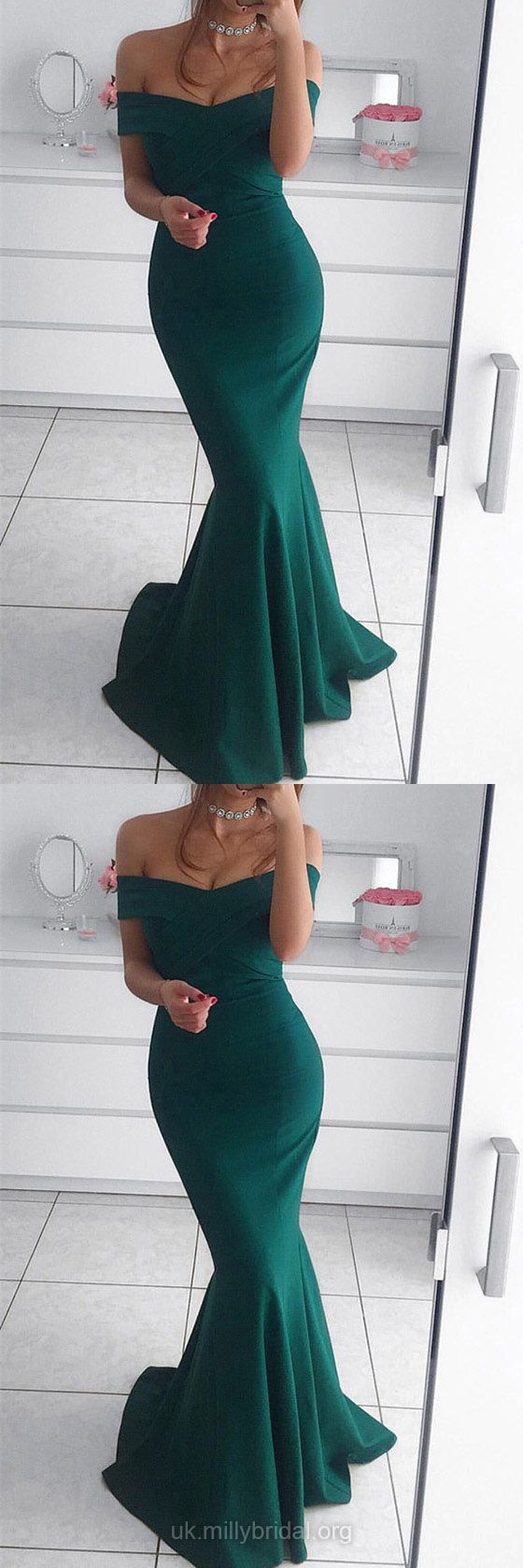 Green Prom Dresses, Long Prom Dresses, Sexy Prom Dresses Silk-like Satin, Off-the-shoulder Prom Dresses Trumpet/Mermaid, Ruffles Prom Dresses For Teens #greendresses