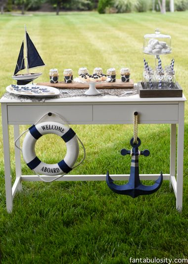 Nautical Birthday Party Ideas, Boy or Girl! Navy Blue and White Dessert table!