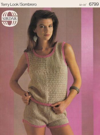 Sleeveless Top  and Shorts Vintage Knitting Pattern for download - Four sizes to fit 32 to 38 inch bust (81 - 97cm)