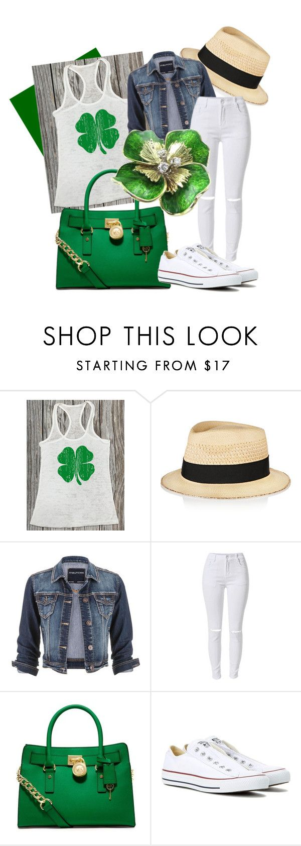 """St Patricks Day Outfit"" by sweetestsoutherncharm on Polyvore featuring Eugenia Kim, maurices, MICHAEL Michael Kors and Converse"