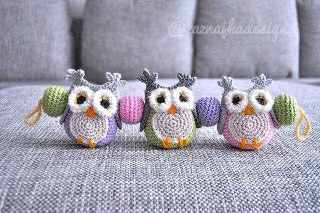 Crochet baby buggy owls mobile