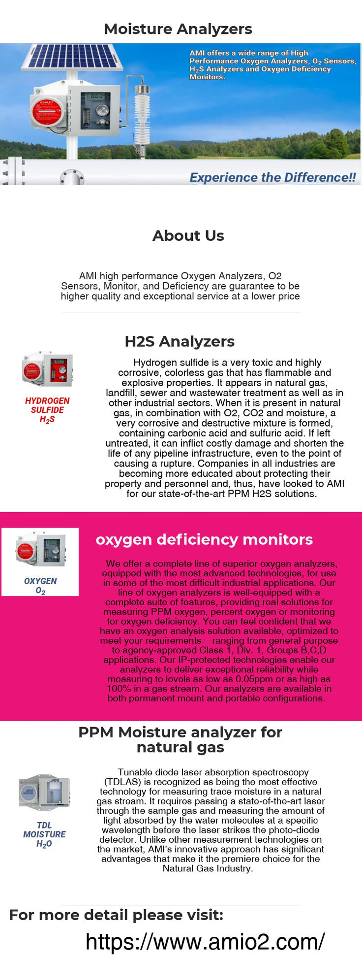 AMI high performance Oxygen Analyzers, O2 Sensors, Monitor, and Deficiency are guarantee to be higher quality and exceptional service at a lower price