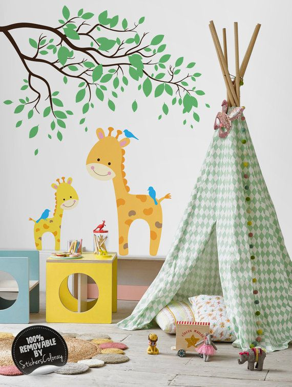 Safari life wall decal, Giraffes and trees wall decor, Removable, Peel and Stick, Animals and branch with leaves wall sticker #13