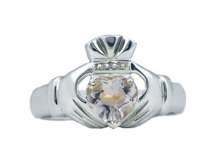 Diamond and Aquamarine Men's White Gold Claddagh Ring Gemologica.com offers a large selection of Irish Claddagh Symbol Rings in Sterling Silver, 10K, 14K and 18K yellow, rose and white gold with birthstones and gemstones and wedding and engagement rings for men and women. Women's claddagh rings at www.gemologica.com/claddagh-rings-c-27_307.html Men's claddagh rings at www.gemologica.com/mens-claddagh-rings-c-28_46_175.html