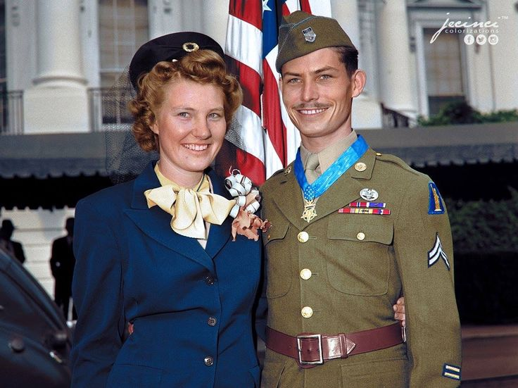 "#WW2ColourisedPhotos .... ""Hacksaw Ridge""  Desmond Thomas Doss & his wife Dorothy After receiving the Medal of Honor from President Harry Truman: October 12, 1945 February 7, 1919 – March 23, 2006 USArmy corporal who served as a combat medic with an infantry company in World War II. After distinguishing himself in the Battle of Okinawa,..... He is also the only conscientious objector to receive the medal during World War II."