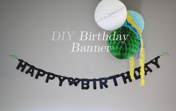 DIY birthday banner - a cheapy banner spray painted black...or any color...