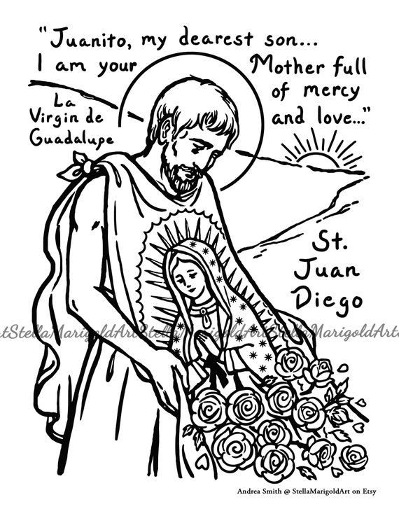 Saint Juan Diego Coloring Page Black And White And Color Coloring Pages Color Diego