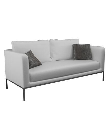 Silver Sofa Artificial leather Stainless steel chassis  Metal: Stainless steelLeather: White W.180 x D.90 x H.90 MH-P-PL-SO-02 Designed by Mostafa Mohamad
