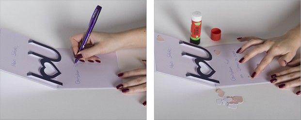 Schritt 6: Persönliches Liebesgeständnis in die Karte schreiben und mit Herzen dekorieren