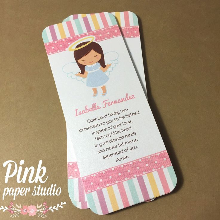 Baptism favor cards bookmark baptism angel girl for Recuerdos para bautizo nina