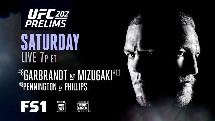 "Before the epic rematch, the #UFC202 prelims are on FS1 featuring Cody ""No Love"" Garbrandt vs 水垣偉弥 - Takeya Mizugaki!!"