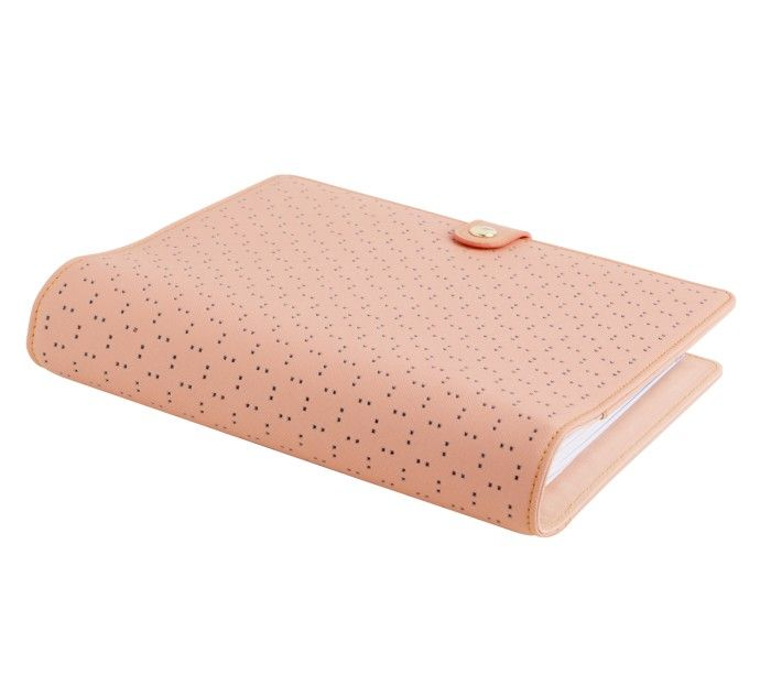 PERFORATED LEATHER PERSONAL PLANNER LARGE: PEACH