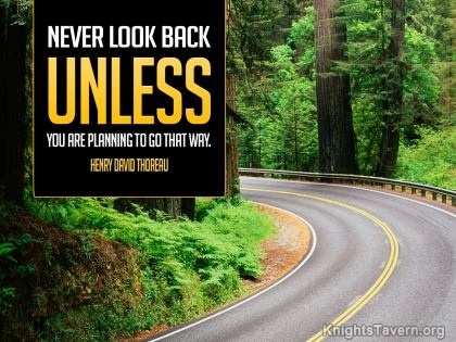"""""""Never look back unless you are planning to go that way."""" -Henry David Thoreau inspirational quote desktop wallpaper (click to download)"""
