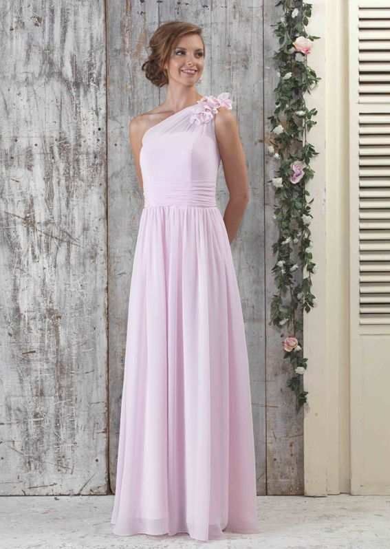EC302 Chiffon One Shoulder Flower Full Length Dress