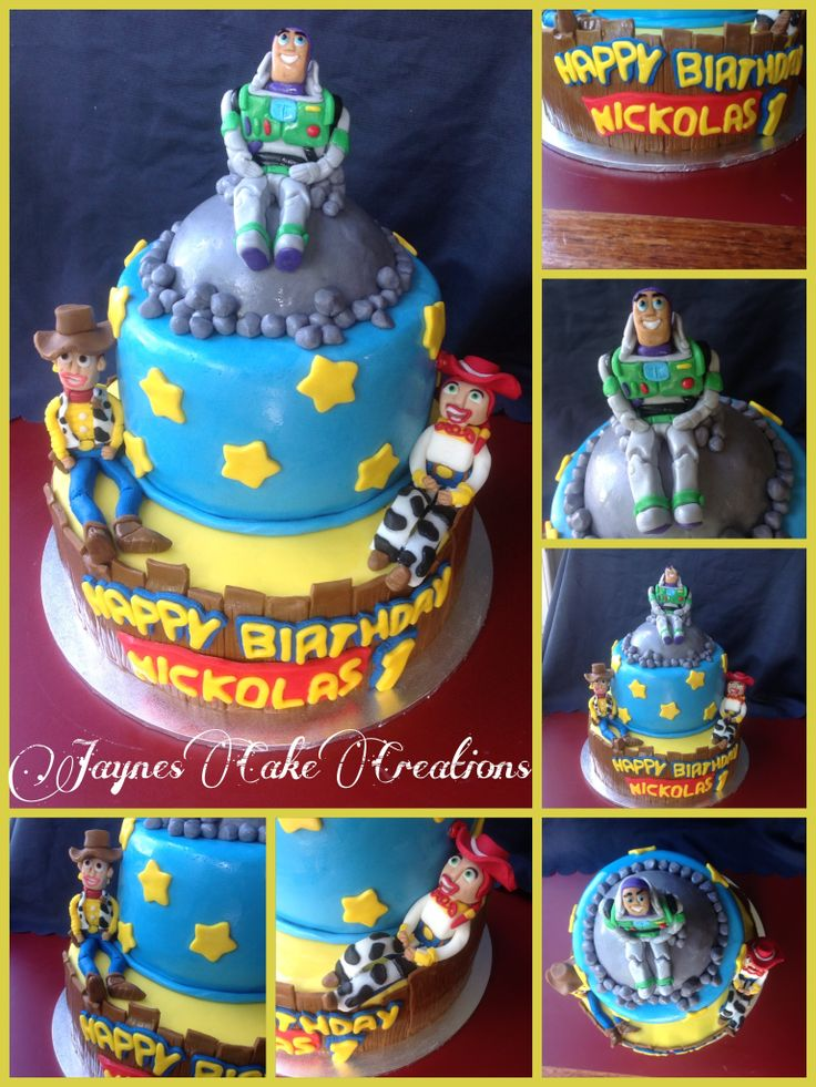 ..2 TIER TOY STORY THEMD CAKE.. ;D #ALL EDIBLE HANDMADE FIGURINES #BUZZ LIGHTYEAR #WOODY & #JESSIE ;D
